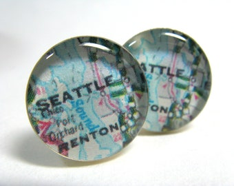 Vintage map cufflinks - Seattle 1980s - silver-plated round