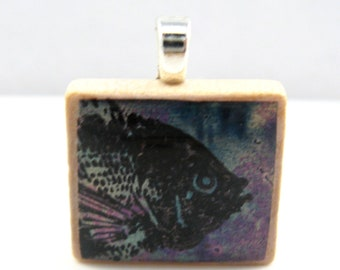 Something Fishy - Glowing metallic Scrabble tile pendant - blue purple