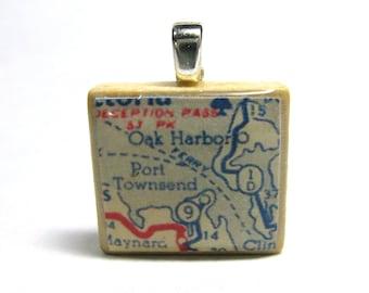 Port Townsend and Oak Harbor, Washington - 1951 vintage Scrabble tile map pendant