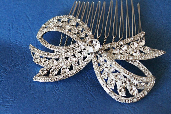 Rhinestone Bow Bridal Hair Comb, bridal hair piece crystal a.