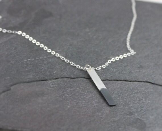 Silver Bar Necklace, Oxidized
