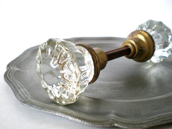 Antique Glass Doorknob, Brass Doorknob, Shabby Chic, Victorian Decor