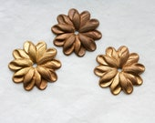 4 Vintage Brass Flowers // 1950s