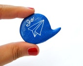 Plane monaco blue polymer clay brooch pin