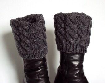 Boot Cuff/Boot Sock/Leg Warmer - Knitted in Grey Yarn