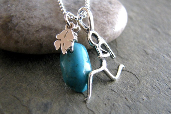 Runners Charm Necklace, Turquoise Gemstone, Shamrock Good Luck Charm, Amulet, Sterling Silver, Sport Fashion - Move Along