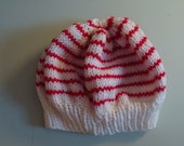 Red and White Striped Slouchy Knit Hat
