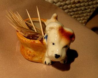 Dog Porcelain Ceramic Vintage Toothpick Holder / Mini Dog Holder What-Not