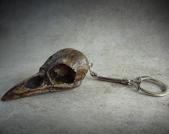 Crow Skull Keychain - Resin Replica Crow Key Chain Magpie Skull Gothic Gift for Him