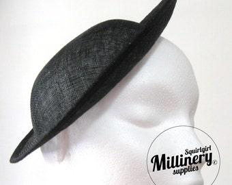 Black Deep Crown Saucer Sinamay Fascinator Hat Base for Millinery