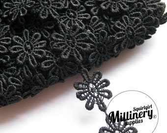 Black Guipure Lace Daisy Flower Embroidered Trim, 1m