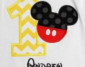 Mickey Mouse Birthday Shirt or Bodysuit, Mickey 1st Birthday Shirt, Any Age