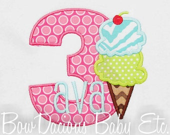 Ice Cream Birthday Shirt or Bodysuit, Custom, Any Age, Ice Cream Party
