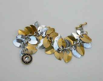 Chain maille scale maille bracelet gold silver aluminum scales statement bracelet