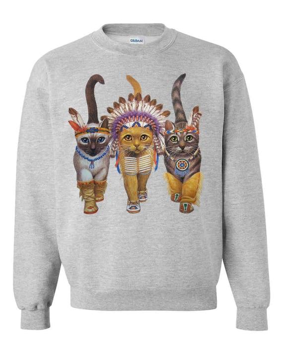CAT SWEATSHIRT INDIANS unisex pullover crew neck -- s m l xl xxl xxxl