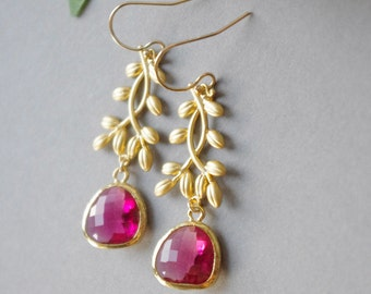 Bridesmaid Earrings, Hot Pink Earrings for Wedding, Gold Framed Glass Stone Earrings, Wedding Jewelry, Fuchsia Earrings July Birthstone