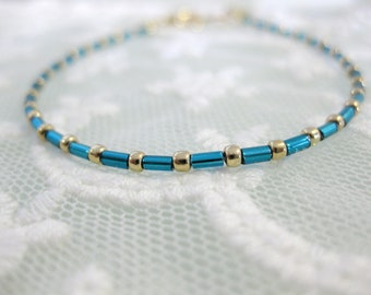 Dainty petite turquoise and gold seed bead friendship bracelet for everyday