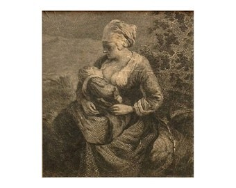Fragment of an 18th century engraving showing a mother and child.