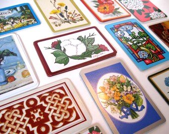 Vintage Playing Cards LOT, Card Lot, Trading Card Lot, (48) Various Designs, Swap Cards, Botanical, Equestrian, Geometric, Trade cards