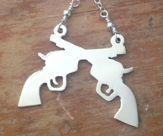Double Gun Necklace - Silver
