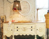 Painted Cottage Chic Shabby Farmhouse Buffet / Server SV297