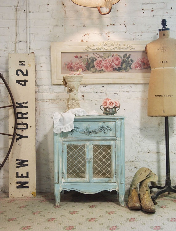 Painted Cottage Chic Shabby Tea Stained Night Table NT441