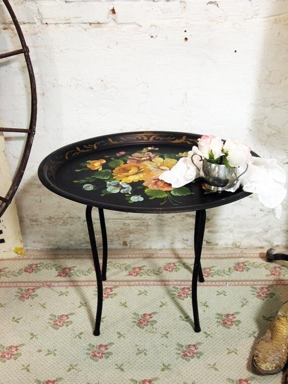 Painted Cottage Chic Shabby Vintage Tole Painting Rose Table
