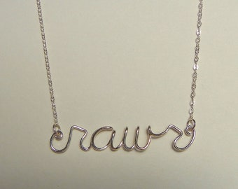 "Word necklace, ""rawr"" in sterling silver"