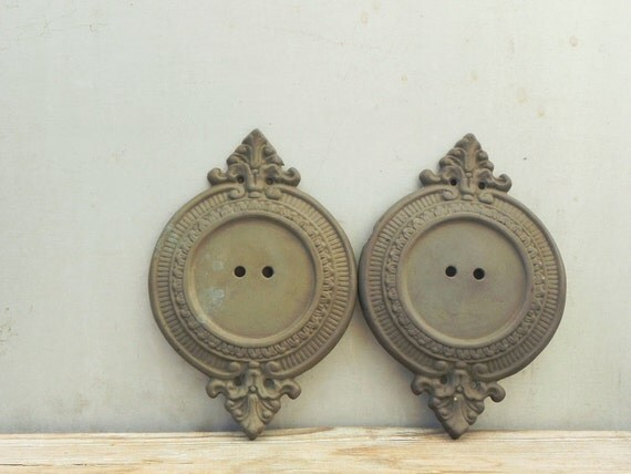 Wall Sconces Parts : 2 vintage brass wall sconce backplate lamp parts