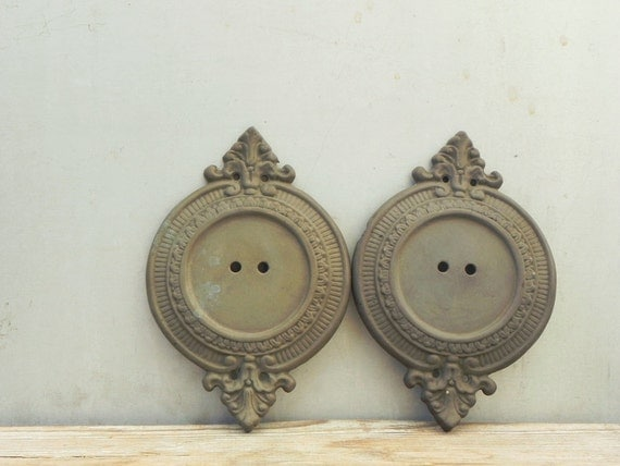 Antique Wall Light Parts : 2 vintage brass wall sconce backplate lamp parts