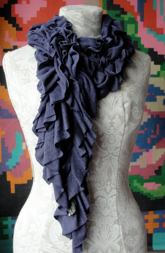 Ruffle TEXTURED scarf by FAIRYTALE13 in Marl Indigo Jersey fabric.