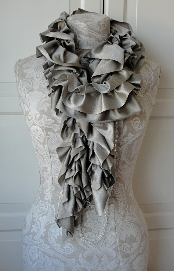 Antique GOLD textured Ruffle Scarf by FAIRYTALE13.