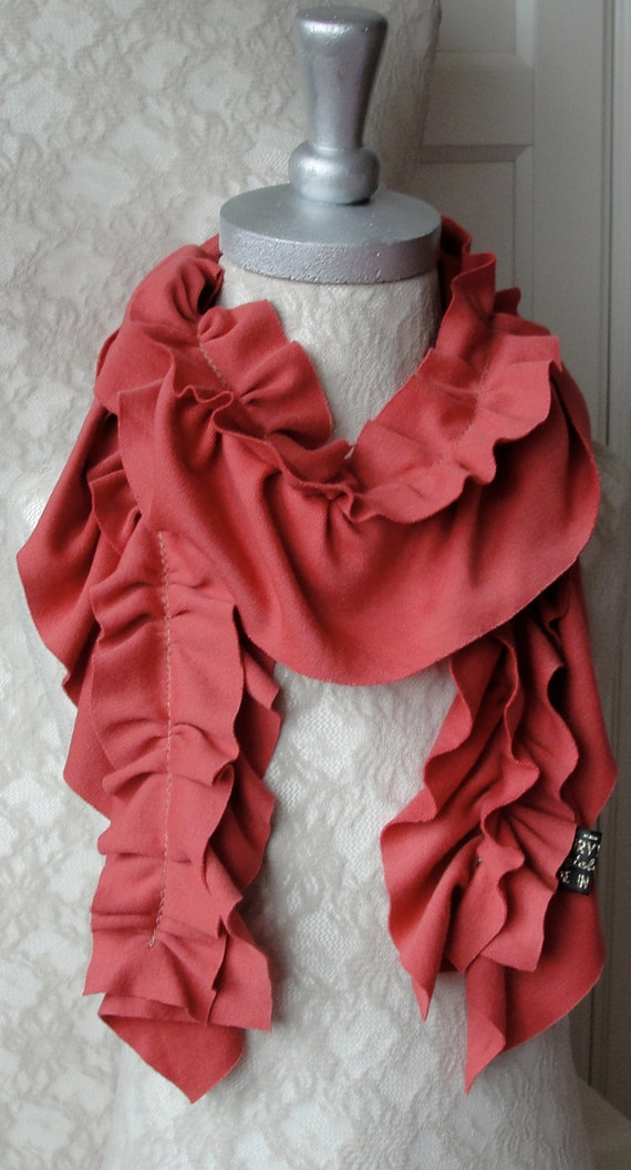 Mini RUFFLE scarf by FAIRYTALE13 - Deep coral pink