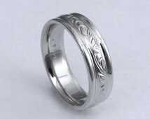 Hand Engraved Vine and Leaf  Wedding/Anniversary 6mm Band in 14k White Gold Made to Order