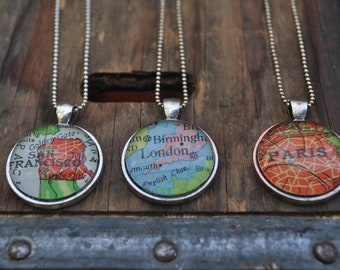 Personalized Map Pendant Necklace from Vintage Atlas 3 Necklaces