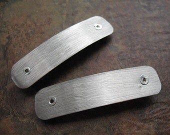 Small Brushed Bright Nickel Silver Hair Barrette Pair