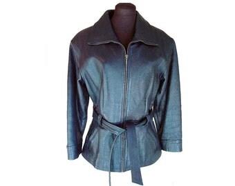 Vintage black leather jacket, fitted leather jacket, biker jacket, front zipper, MINT condition, Size M, 1990s