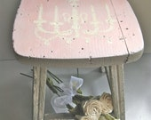 Vintage Stool, Old Stool, Chandelier, Chippy Paint, Rustic Farmhouse, Shabby and Chic, Cottage Chic, Gray, Pink