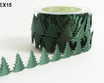 Christmas Trees Ribbon - Green - 1 inch  - You Choose Yards