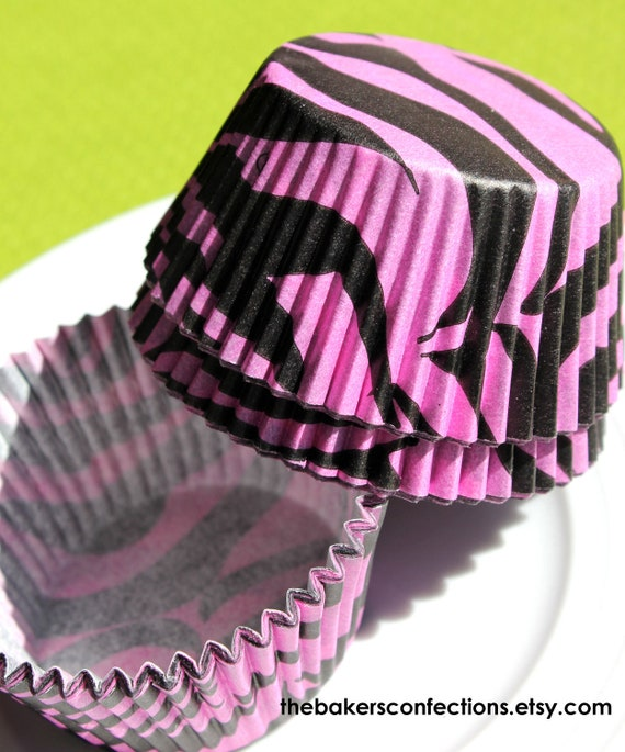 Pink-Black Zebra Cupcake Liners (90 count)