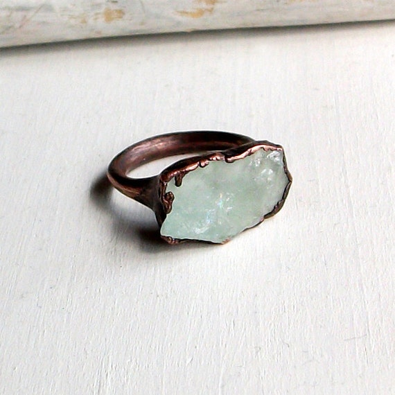 Copper Ring Aquamarine Ring Pale Sea Green Blue Organic Raw Artisan Handmade