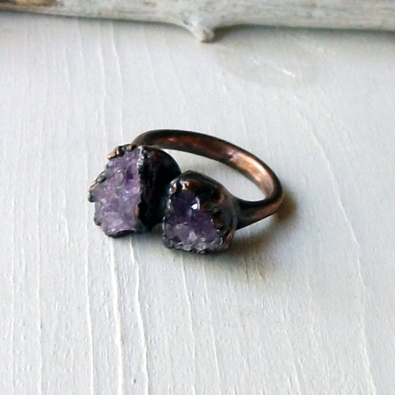 Copper Ring Amethyst Purple Lavender Violet Raw Crystal February Birthstone Artisan Handmade