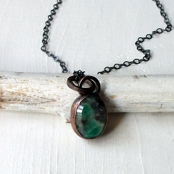 Emerald Quartz Pendant Oval Copper Necklace Green Black White Artisan Handmade