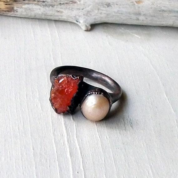 Opal Pearl Copper Ring Red Orange  Raw Gemstone Artisan Handmade