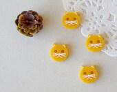 Golden Yellow plastic handmade cat buttons set of four