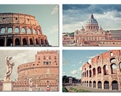 Ancient Rome set of 4 - Rome photography 5x7 fine art wall decor - Colosseum St Peter's Basilic Castle of the Holy Angel