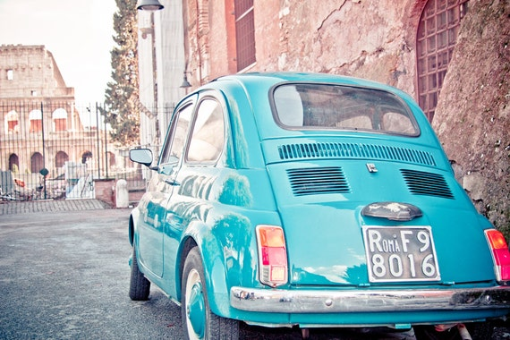 Colosseum Rome and Vintage Italian FIAT 500 car in by BasicDesign