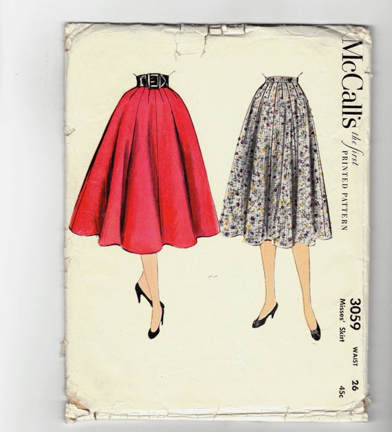 Vintage 50's Woman's Full Skirt sewing pattern.   McCall.  Misses Waist Size 26.   No. 3059.