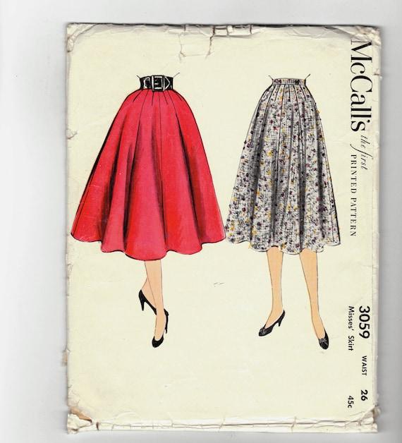 Luxury Vintage 1950s Skirt Pattern Womens Rockabilly Flared 1955 Dress