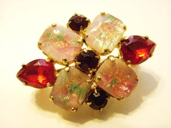 Art Deco Vintage Czecho Slovakia Brooch Pin Garnet Ruby Easter Egg Opal Rhinestones